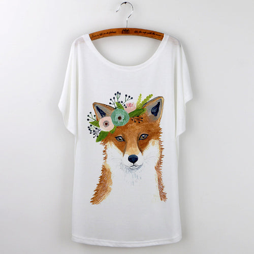 Fox with flowers T-shirt