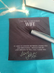 Handwritten Customized sign off on greeting message card included in jewelry gift box