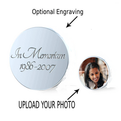 In Memorium Jewelry has optional engraving on back of photo charm with an upload of your photo on the front