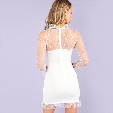 Pearl Beading Vine Mesh Panel Ruffle White Dress