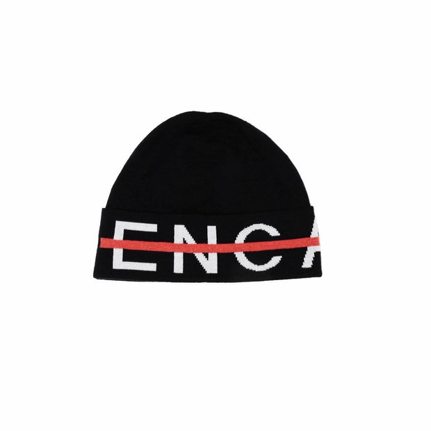 KNITTED LOGO BEANIE & SCARF SET - BLACK / RED LINE