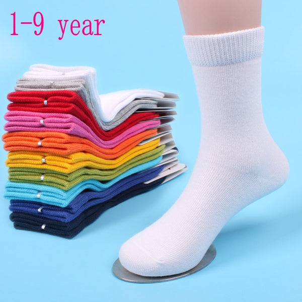 10 pairs Rich Cotton Plain style school kids Crew Seamless Socks girls boys Solid Color Sport Socks