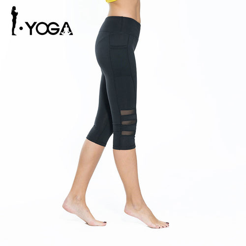Breathable Fitness Women Slim Mesh Yoga Leggings Gym Sports Pants Hips Push Up Elastic Trousers