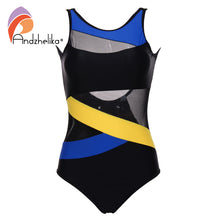 Sports XS--XL Women Swimsuit Soft Cup  Mesh Solid Patchwork Stripe Swimsuit U-Shaped Back 1 piece