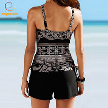 Geometric Print Tankini High Waist Swimsuit With Skirt  2pc/set   S-2XL