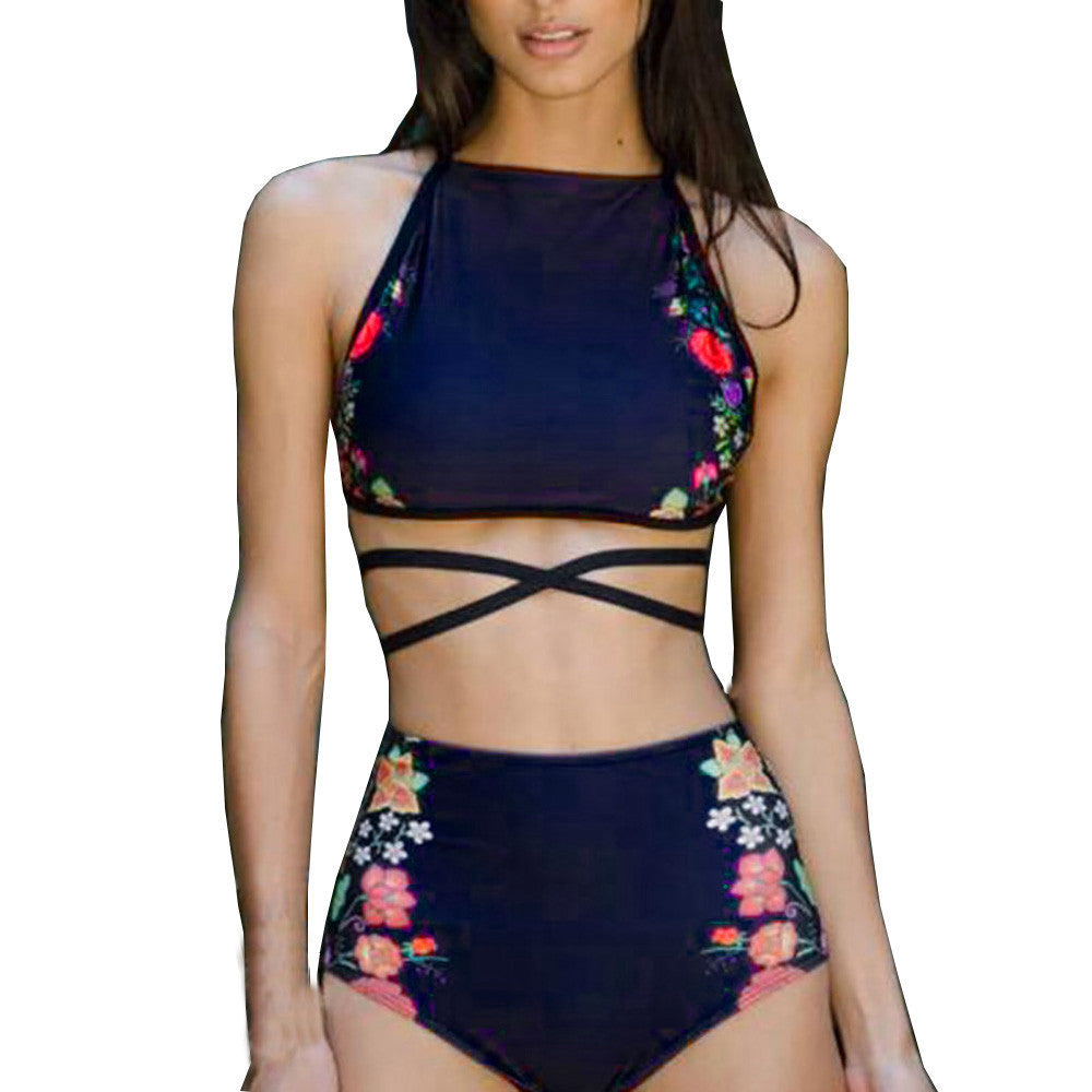 High waist Bikini 2pcs/Set Push-Up Padded Geometric Print Bra Swimsuit