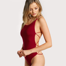 Well tailored Strappy Backless Scoop Neck Cross Burgundy Swimsuit Summer Beach Hot Bodysuit