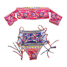 Women Off Shoulder Sexy  Strapless Swimsuit High Waist Push-up Padded Bra S-L
