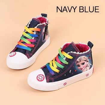 Fashion Beauty Children's Shoes New Girls Shoes 2017 Elsa Anna Princess Cartoon Running Flat Kids Sneaker For Girl Boots