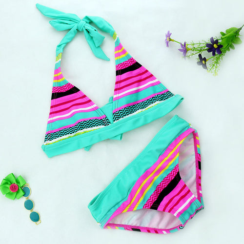 Kids 2018 Close-fitting Elastic Stripe Swimsuit  girls 2Pc/Set bikini 8Y-16Y