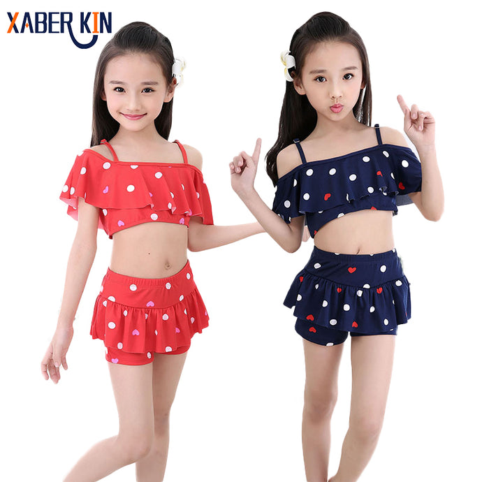 Kids Swimsuit 2 Pieces Pop Skirted girl bikini beach wear 3Y -10Y