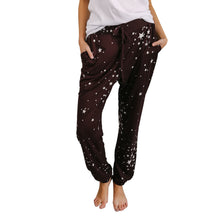 Women Star Printed Pencil Stretch Casual Pants Elastic Waist Trousers
