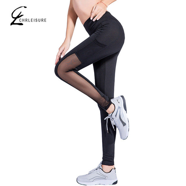 Popular S-XL Mesh Pocket Workout Leggings Fitness Slim Stretch Black Pants Women