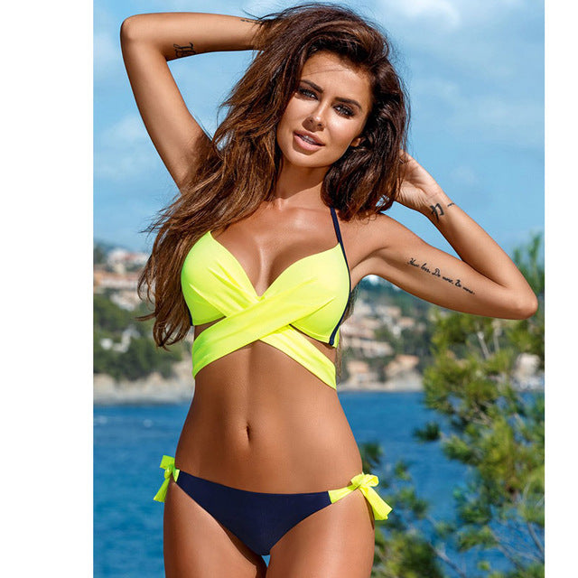 NEW HOT A+ 2018 Sexy Low Waist Push Up Swimsuit Criss Cross Bandage Halter Bikini 2 pc Set  S--XXL