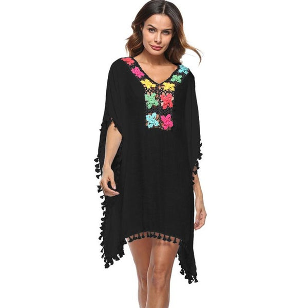 2018 New Fashion Lady Beach Swimsuit Cover Up Free size Tassel Sunbathing Shirt Smock Amazing hot sale