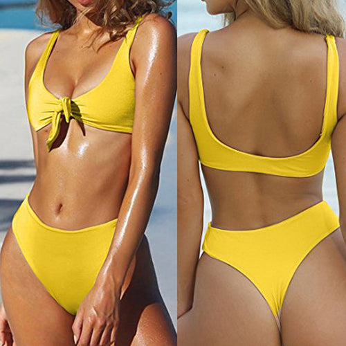 Women Yellow 2pcs/set Swimsuit Solid Bow knot Bikini Swimwear