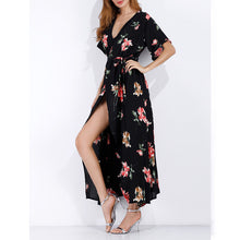 Floral Print Long Maxi Dresses Short Sleeve Summer Boho Beach Dress for Women Party Dress