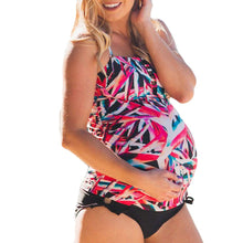 Maternity Tankinis Flowers Print Swimsuit Beachwear Pregnant Suit S-5XL