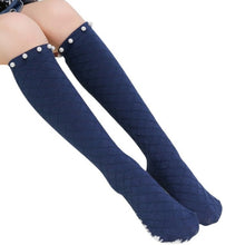 Girls 5-10 Y Cotton Solid Color Black White or Navy Middle Tube Mesh Knee High Socks with Grated Pearl