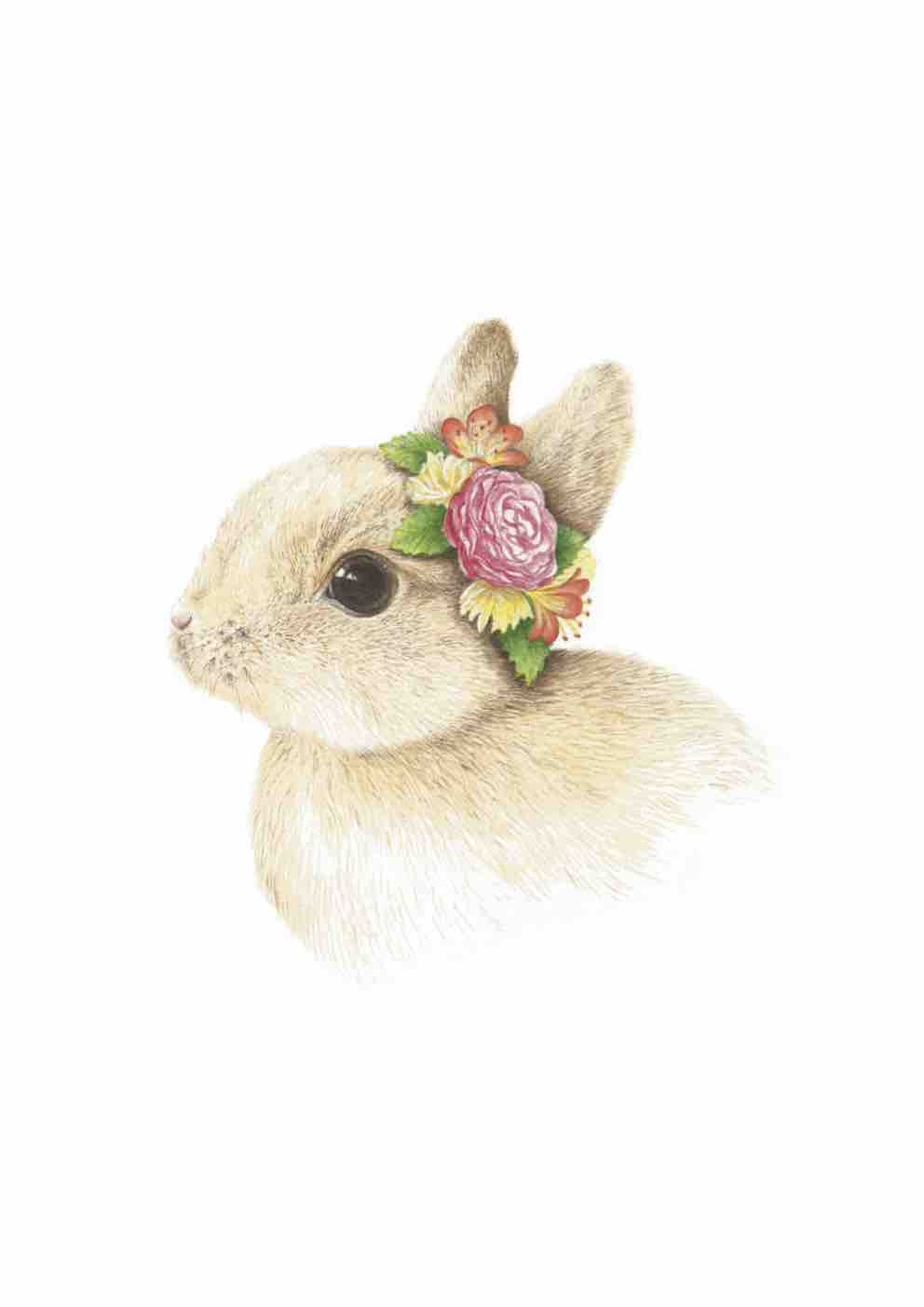 Bunny With Flower Crown Art Print Swaddle Online