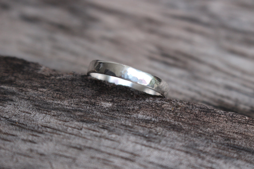 Band ring: recycled sterling silver with textured finish.