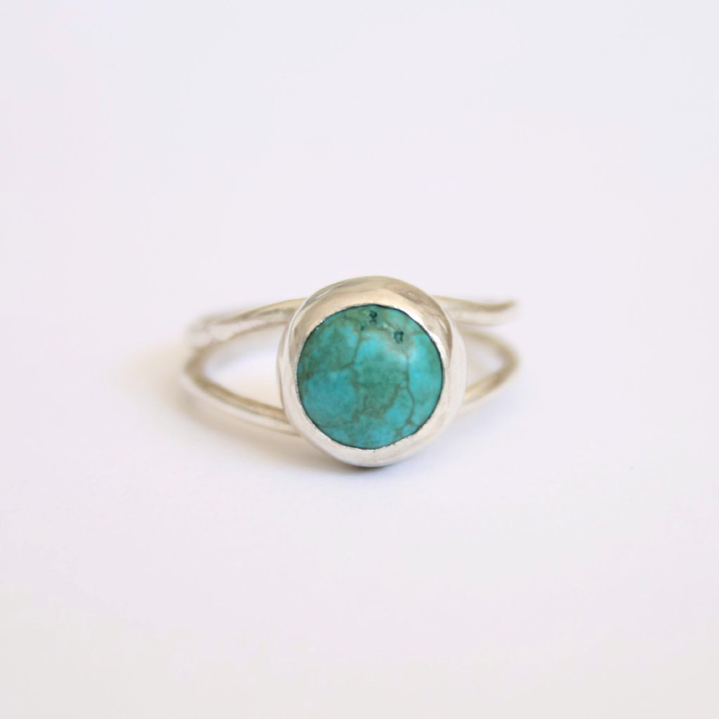 Aperature Ring: Double band recycled silver with ethically sourced turquoise gemstone