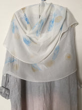 Load image into Gallery viewer, Hand Painted Silk Shawl - Blue & Tansy