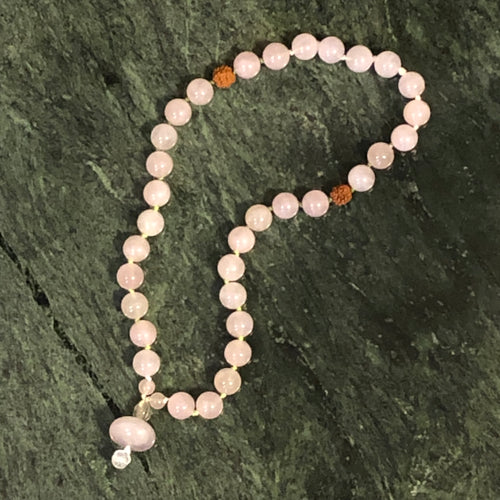 Rose Quartz Mala Beads - Blue & Tansy