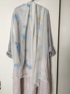 Hand Painted Silk Shawl - Blue & Tansy
