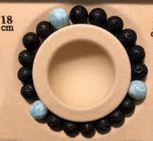 Load image into Gallery viewer, Larimar and Lava Diffuser Bracelet - Blue & Tansy
