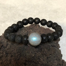 Load image into Gallery viewer, Labradorite and Lava diffuser bracelet