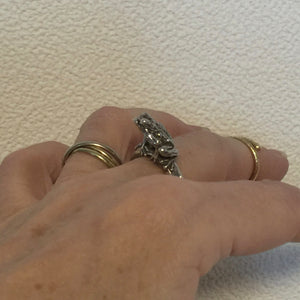 Japanese Rain Frog Ring. - Blue & Tansy