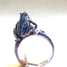 Load image into Gallery viewer, Japanese Rain Frog Ring. - Blue & Tansy