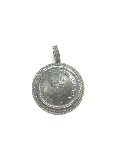 Lucky Coin, silver and diamond