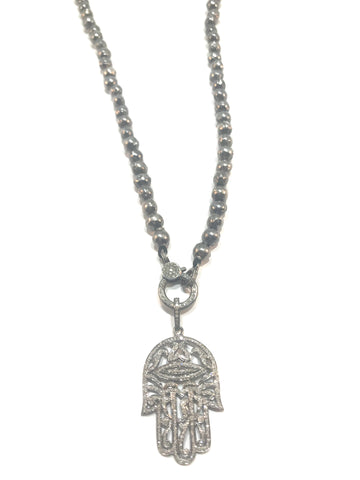 Sterling Silver chain with silver and diamond double sided clasp