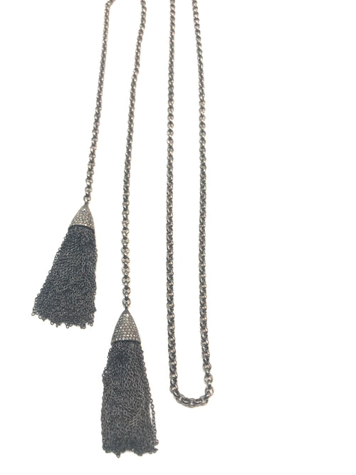 Sterling  Silver and diamond tassel long chain