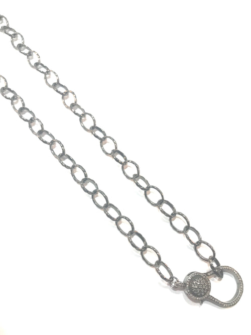 Sterling Silver ½ inch link chain, hammered, diamond cut, with double sided diamond clasp