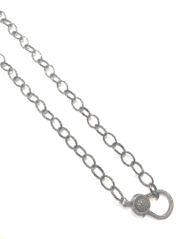 Sterling silver chain with 14k rose gold and silver diamond clasp