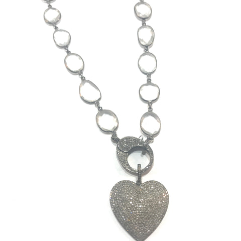 Grey, Pink or Cream Sapphire and sterling silver chain with 2 sided diamond clasp