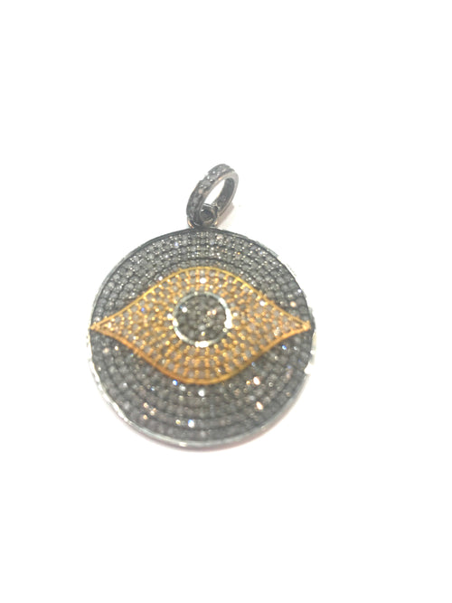 Evil Eye silver and gold fill and diamond
