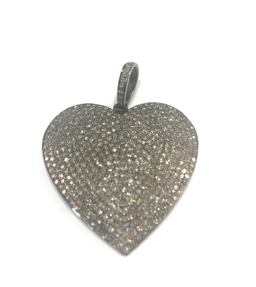 Heart large diamond, sterling silver