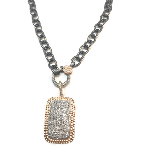Dog Tag 14k rose gold and diamond