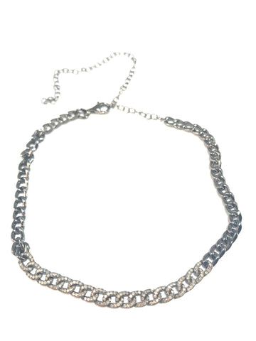 Star Diamond and Silver Necklace