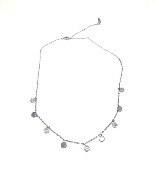 Diamond and Silver Disc Necklace