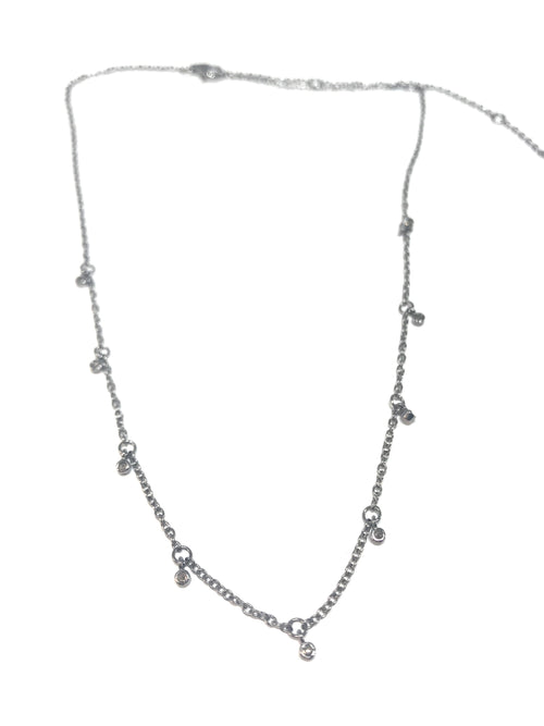 Small Bezel Diamond Drop and Silver Necklace