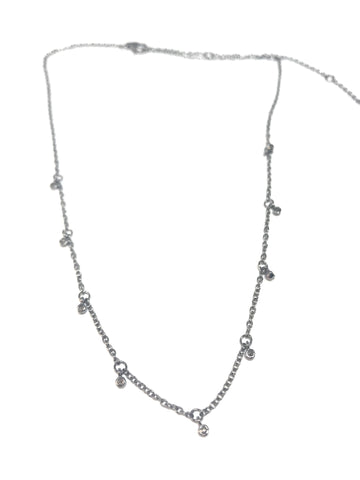 Diamond and Silver Script Love Necklace