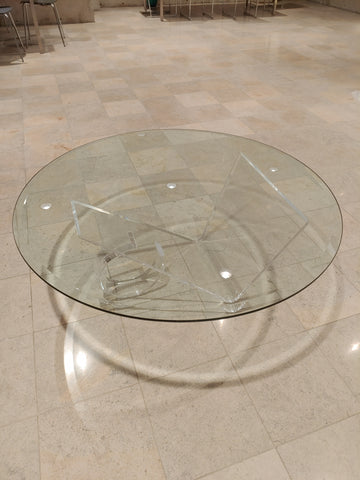 Round Glass Coffee Table with Modern Lucite Base!