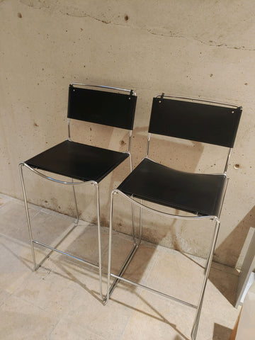 Pair of Black Leather Bar Stools w Chrome Legs