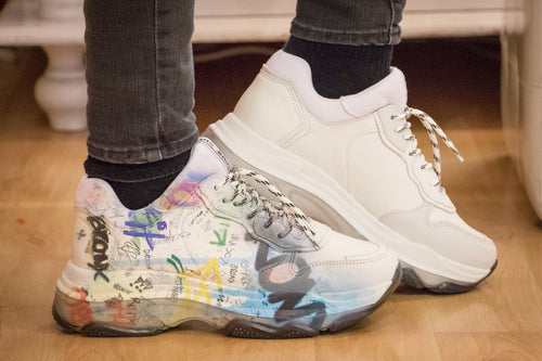 sneakers in pelle con graffiti Bronx