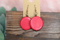 Red Wooden Circle Earrings